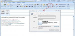 Outlook 2007 insert calendar into email option