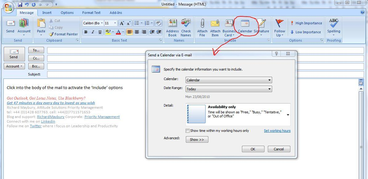 how to change date on email outlook